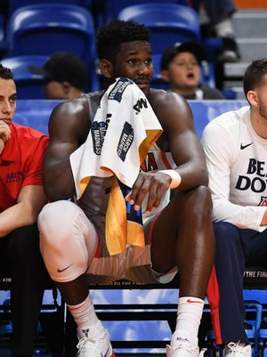 Mar 15, 2018; Boise, ID, USA; Arizona Wildcats forward Deandre Ayton (13) reacts on the bench in the second half against the Buffalo Bulls during the first round of the 2018 NCAA Tournament at Taco Bell Arena. Mandatory Credit: Kyle Terada-USA TODAY Sports