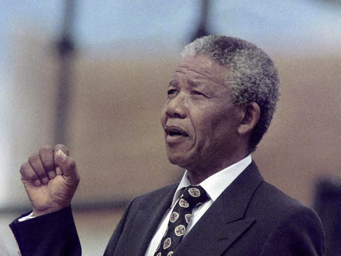 Nelson Mandela on Dec. 16, 1990, in Soweto.