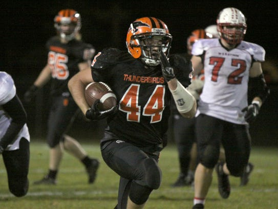 Iola-Scandinavia junior running back Bryce Huettner rumbled for 264 yards and a pair of touchdowns in the Thunderbirds' state quarterfinal win over Marathon on Friday night.