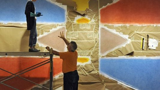 Check out the complete Sol LeWitt wall painting at the museum Saturday. This image shows volunteers working on the piece this summer.
