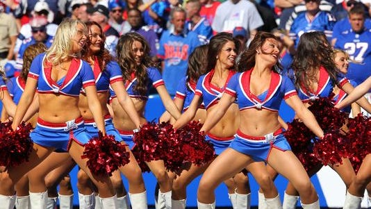 Sept. 8, 2013: Buffalo Jills cheerleaders perform during the second half of a game against the New England Patriots at Ralph Wilson Stadium.