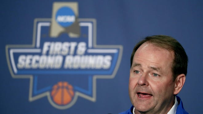 MTSU coach Kermit Davis speaks to members of the media during a news conference Saturday.