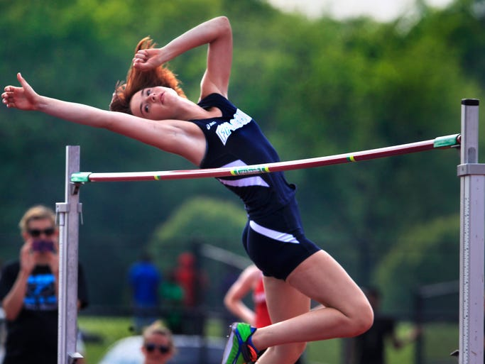 "Perry Meridian's Heather Orr, shown here, finished second in the high jump (5'2"") behind Ben Davis' Erynn Young, who won the event with a jump of 5' 3"" at the girls high school track sectionals at Ben Davis on Tuesday, May 20, 2014."