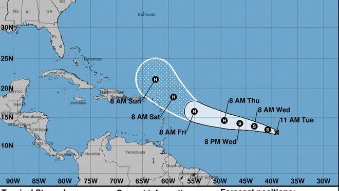 Forecast for Tropical Storm Jose.