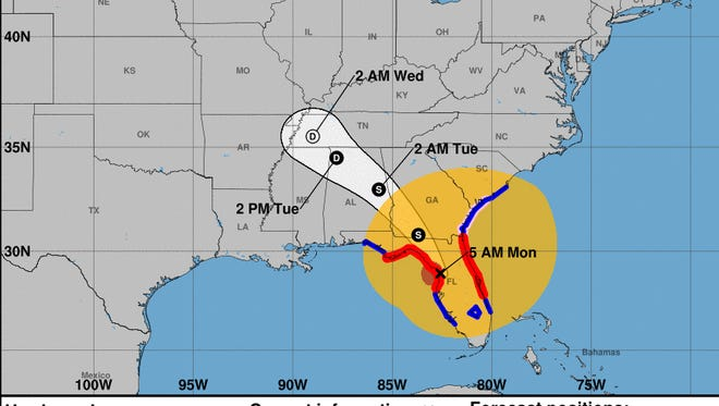 Forecast of Hurricane Irma as of 5 a.m. on Monday, Sept. 11, 2017.