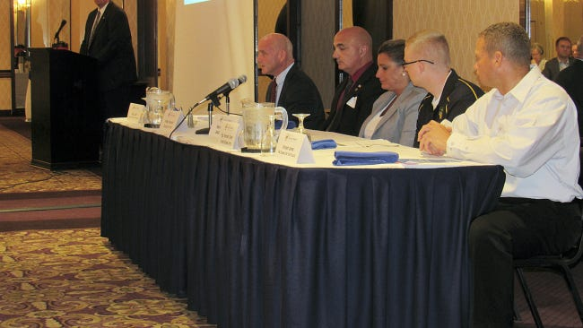 From left, state Rep. Seth Grove, R-Dover Township, moderates a panel on hiring and assisting veterans with Gary Laird of Hanover Area Chamber of Commerce, Phillip Palandro of York County, Melissa Menke of BAE Systems, Sgt. Kenneth Olsen of the U.S. Army and Vincent Jones of PA CareerLink York.