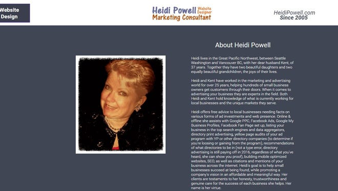 A screen grab of the current website heidipowell.com
