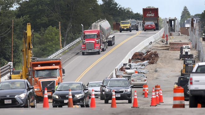 Construction continues on Route 18 in South Weymouth in this July 2020 file photo.