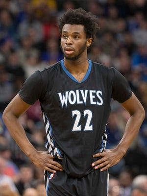 Minnesota Timberwolves forward Andrew Wiggins (22) looks on during the second half against the Golden State Warriors at Target Center.