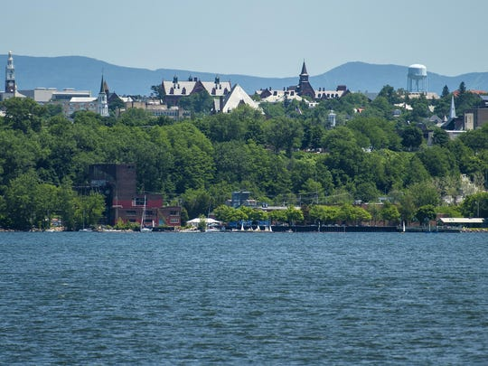 Burlington is seen from the Lake Champlain Transportation Company's Adirondack ferry as it crosses Lake Champlain between Burlington and Port Kent on June 17.