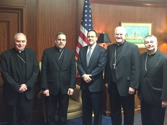 Kentucky's Roman Catholic bishops met with Gov. Matt Bevin Friday.