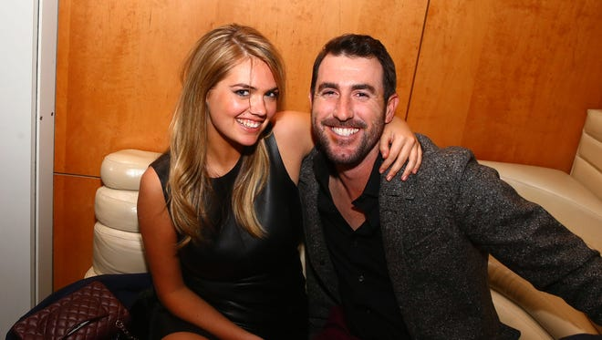 Jan 31, 2014; New York, NY, USA; Kate Upton (left) with Justin Verlander at the GQ Party in the Boom Boom Room at The Standard Hotel. Mandatory Credit: Mark J. Rebilas-USA TODAY Sports ORG XMIT: USATSI-175306 ORIG FILE ID:  20140131_mjr_su5_057.JPG