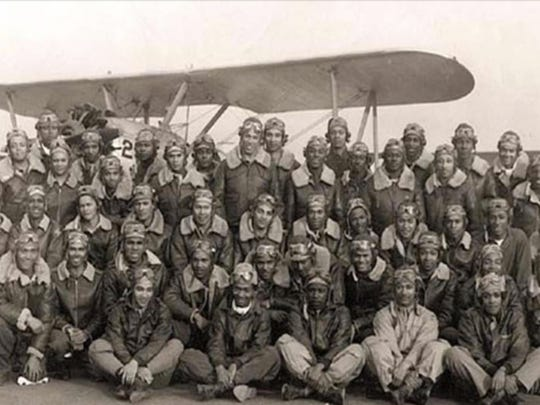 A provided photo of Tuskegee Airmen during World War II.