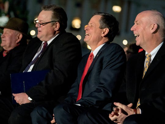 From left, Agriculture Secretary Sonny Perdue, Sen. Jon Tester, D-Mont., Sen. Steve Daines, R-Mont., and Rep. Greg Gianforte, R-Mont., sit together during an event at the U.S. Capital last December.