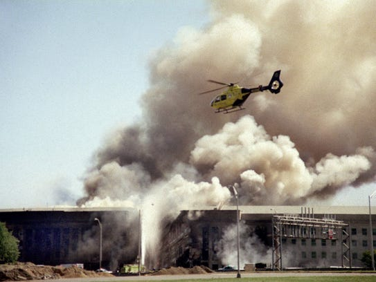 FILE - In this Sept. 11, 2001 file photo, a helicopter