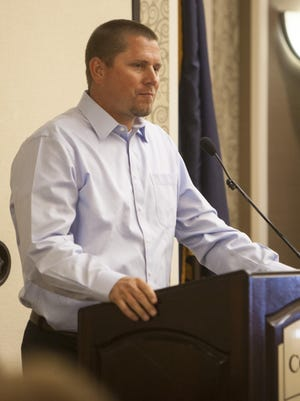 Jesse Shipp, father of Britton Shipp, addresses the St. George Chamber of Commerce on Wednesday, June 3, 2015.