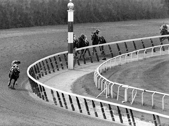 FILE - In this June 9, 1973, file photo, jockey Ron Turcotte, left, aboard Secretariat, turns for a look at the field behind, as they make the final turn on their way to winning the 1973 Triple Crown in the Belmont Stakes horse race at Belmont Park in Elmont, N.Y.  Secretariat returned to racing 21 days after his record-setting Belmont, winning the $125,000 Arlington Invitational Stakes at Arlington Park.  On Sunday, Aug. 2, 2015, American Pharoah will attempt to do what many Triple Crown champions have done throughout history, win their first race after victories in the Kentucky Derby, Preakness and Belmont Stakes.  (AP Photo/Dave Pickoff, File)