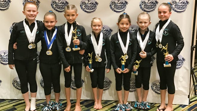 All Xcel Silver Junior A Division (from left): Dallas Scent, Savina Magaro, Bella Marini, Milia Pfeiffer, Julia Hueneke, Shelby Muir and Paige Keen