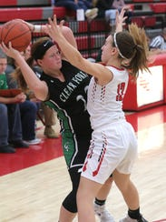 Clear Fork's Whitney Snavely looks for an opening while