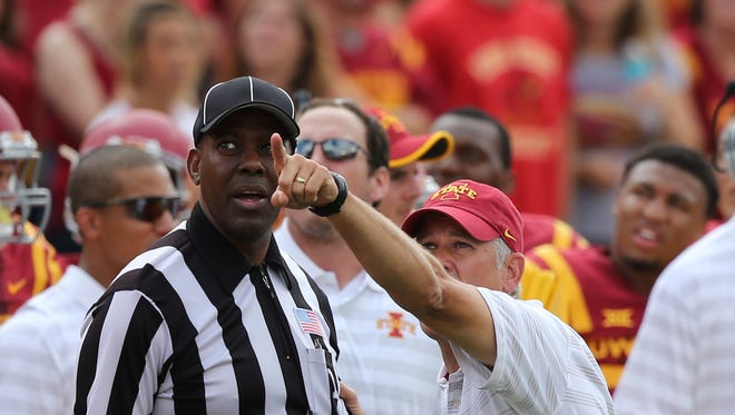 Iowa State head coach Paul Rhoads argues a call. He points and asks the referee to watch against North Dakota State on Saturday.