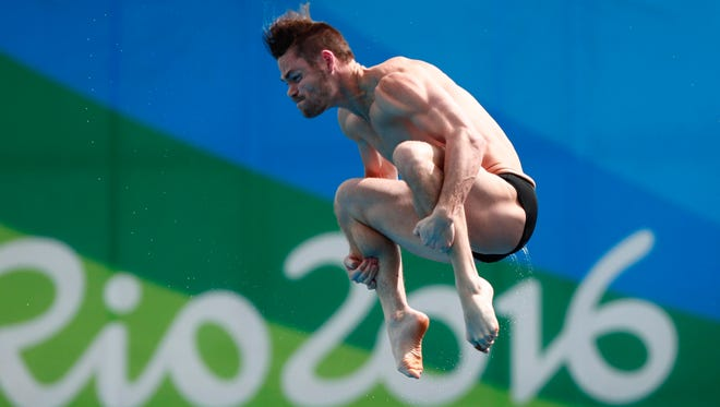 David Boudia competes in the men's 10m platform diving semifinal Saturday during the Rio 2016 Summer Olympic Games.