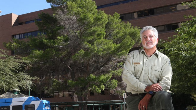 El Pasoan Oscar Mestas, a regional urban forester, has been named Texas Arborist of the Year. He helped preserve the giant Aleppo pine behind him. Planted in the 1960s, it is the tallest tree of its kind in Texas.