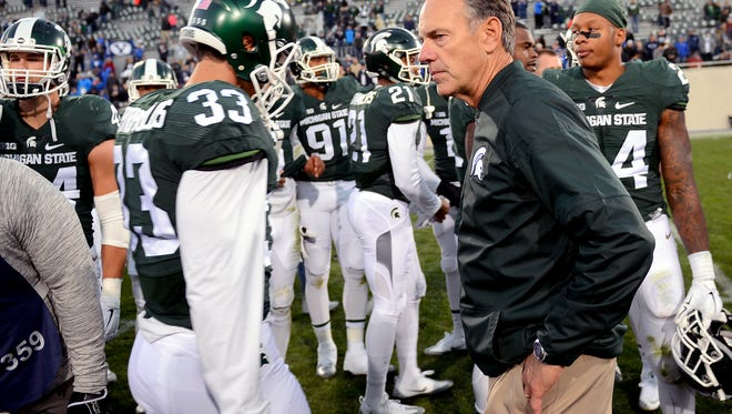 Head coach Mark Dantonio looks on after MSU's loss to BYU Saturday, October 8, 2016 in East Lansing.