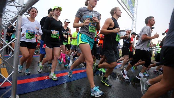 Runners start the Murfreesboro Half Marathon in 2014.