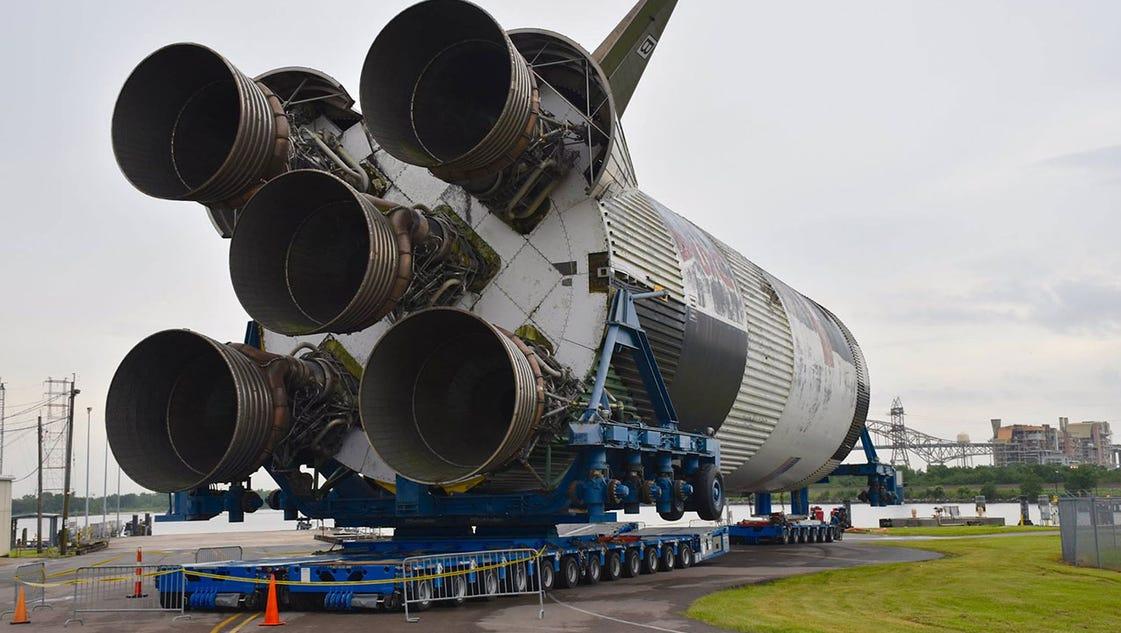 Saturn V rocket stage moving to Mississippi