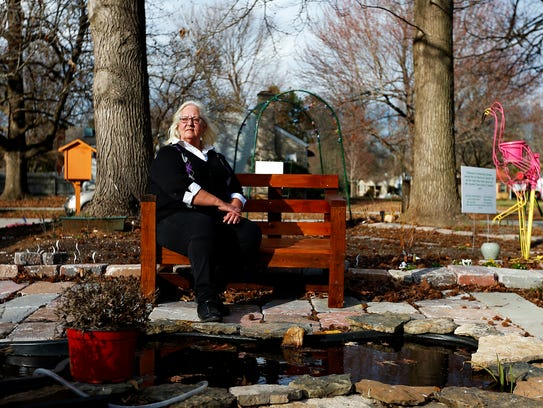 Jean Ackley poses for a portrait at the Delaware Community Garden in Springfield, Mo. on Feb. 23, 2017.