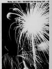 After the fumes dispersed following the tear gas incident at the Palm Springs High School stadium, the Jaycees's fireworks display resumed. Photo by Chuck Scardina appeared in the July 5, 1976, edition of The Desert Sun.