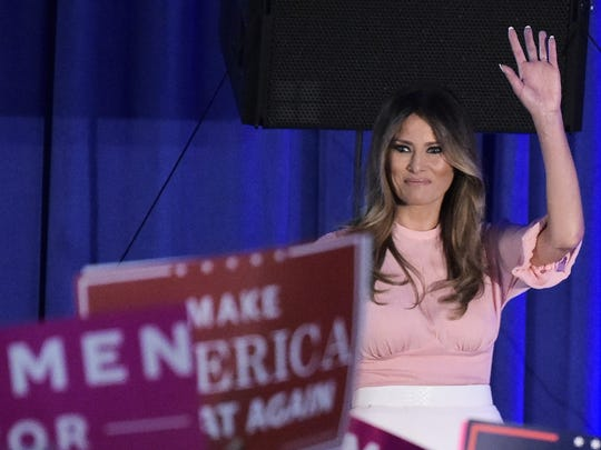 Melania Trump delivers remarks at a campaign rally in Berwyn, Pa. Nov. 3, 2016.