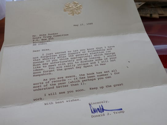 A letter to Mike Dunbar from Donald Trump in May 1988.