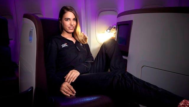 Amber Le Bon, daughter of Duran Duran's Simon Le Bon, models Virgin Atlantic's first ever Onesie for Upper Class passengers.