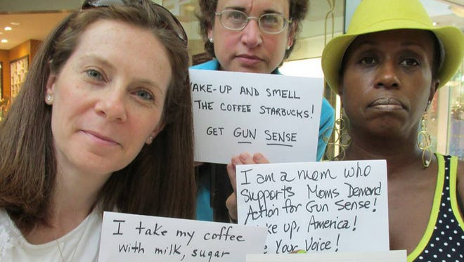 "Members of Moms Demand Action say they want Starbucks to ""get gun sense"" and change its policy on firearms."