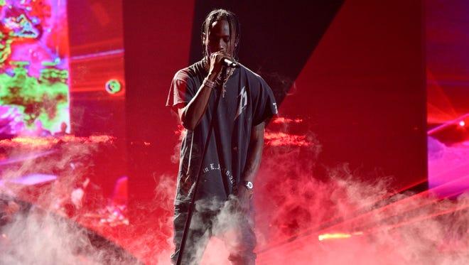 Travis Scott performs at the NBA Awards.