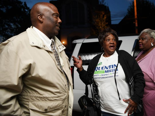 Vanessa White reacts to hearing her nephew, Quentin Miller, is ahead in the primary sheriff race May 8, 2018.
