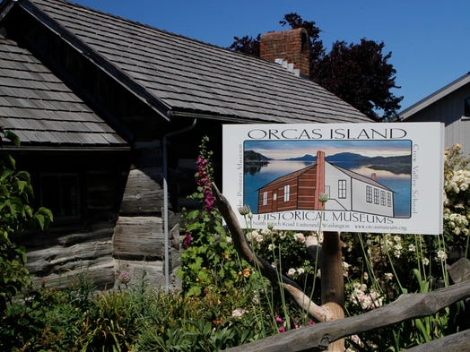 The Orcas Island Historical Museum in Eastsound town sits amid blooming flowers.