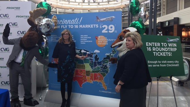 Frontier VP of Marketing Tyri Squyres (left) and Cincinnati/Northern Kentucky International Airport CEO Candace McGraw.