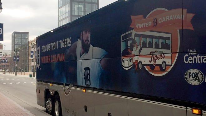 Detroit Tigers' winter caravan bus