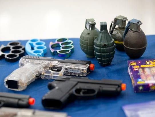 A small selection of items confiscated from passengers