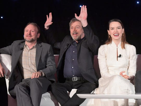 Director Rian Johnson (from left) and actors Mark Hamill