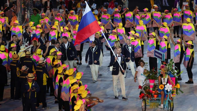 This file photo from Aug 5, 2016 shows the Russian Olympic team entering the stadium during the opening ceremonies for the Rio de Janeiro Summer Olympics at Maracana.