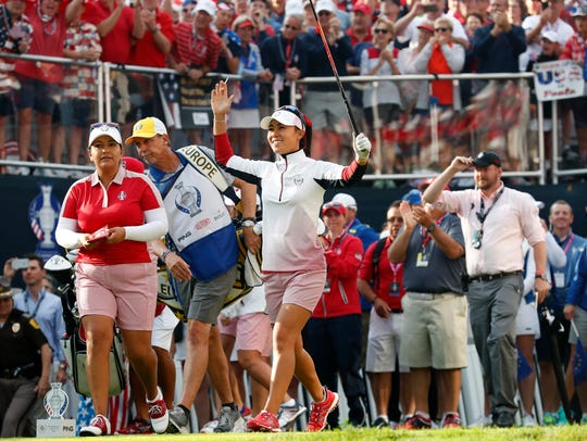 Danielle Kang of the United States reacts to fans after