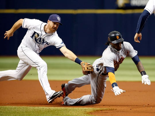 Logan Forsythe (11) during his days with the Tampa Bay Rays before his trade this week to the Los Angeles Dodgers