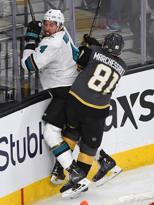 USP NHL: STANLEY CUP PLAYOFFS-SAN JOSE SHARKS AT V S HKN VGK SJS USA NV