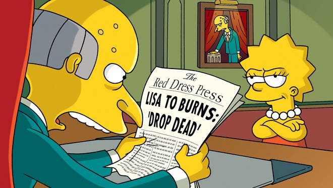 "Lisa Simpson give Mr. Burns a taste of yellow journalism during the "" ""Fraudcast News"" episode of ""The Simpsons,"" which aired May 23, 2010."