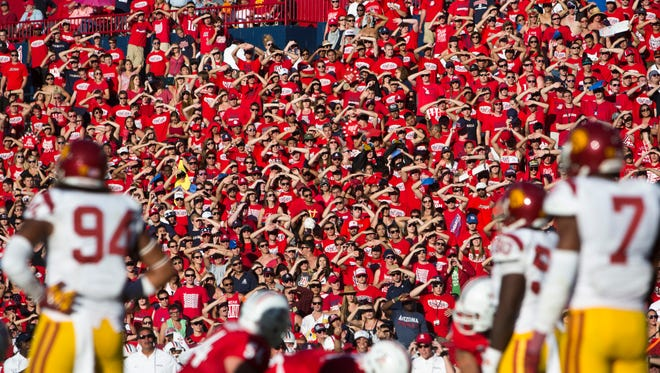 Arizona Wildcats fans watch the action against USC at Arizona Stadium in Tucson on Oct. 27, 2012.