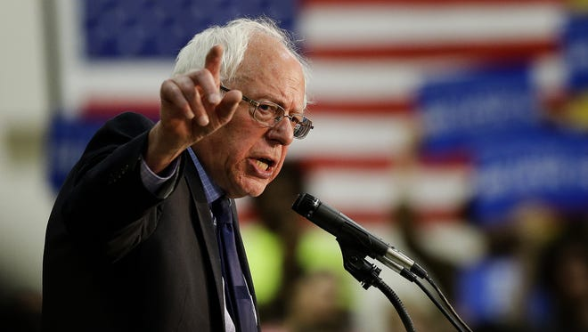 Senator Bernie Sanders of Vermont speaks during a presidential campaign stop at the France A. C—rdova Recreation Sports Center on the Purdue campus in West Lafayette on April 27, 2016.