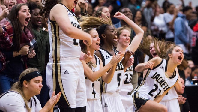T.L. Hanna's women's basketball team cheers as they pull ahead in overtime during the Westside vs. Hanna women's basketball game on Friday, January 20, 2017 in Anderson.
